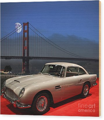 Aston Martin Db5 Under The Golden Gate Moon Wood Print by Wingsdomain Art and Photography