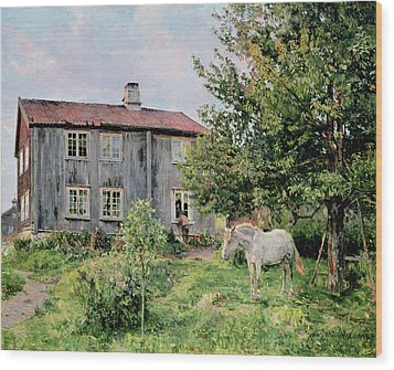 At The Farm Wood Print by Gerhard Peter Frantz Vilhelm Munthe