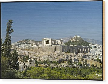 Athens Wood Print by Julia Bridget Hayes