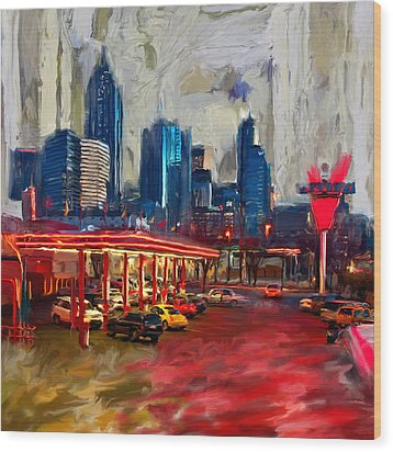 Atlanta Skyline 231 1 Wood Print by Mawra Tahreem