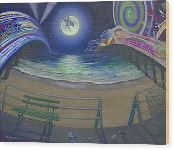 Atlantic City Time Warp Wood Print by Suzn Smith