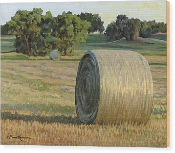August Bales Wood Print by Bruce Morrison
