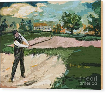 Augusta National Bobby Jones Vintage Golf Wood Print by Ginette Callaway