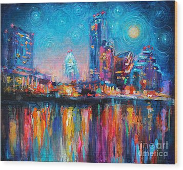 Austin Art Impressionistic Skyline Painting #2 Wood Print by Svetlana Novikova