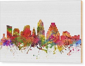 Austin Cityscape 08 Wood Print by Aged Pixel