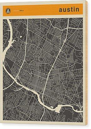Austin Map Wood Print by Jazzberry Blue