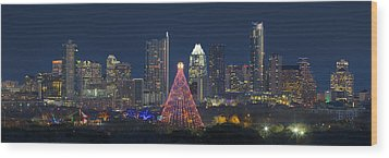 Austin Panorama Of The Trail Of Lights And Skyline Wood Print by Rob Greebon