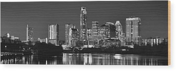 Austin Skyline At Night Black And White Bw Panorama Texas Wood Print by Jon Holiday