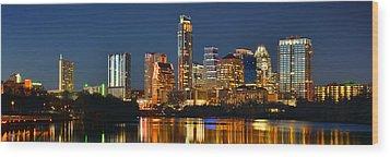 Austin Skyline At Night Color Panorama Texas Wood Print by Jon Holiday