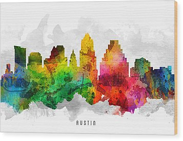 Austin Texas Cityscape 12 Wood Print by Aged Pixel