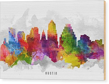 Austin Texas Cityscape 13 Wood Print by Aged Pixel