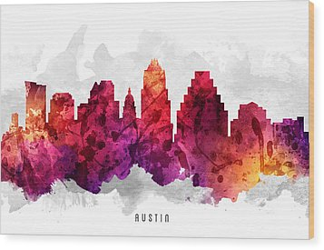 Austin Texas Cityscape 14 Wood Print by Aged Pixel