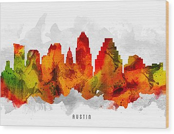Austin Texas Cityscape 15 Wood Print by Aged Pixel