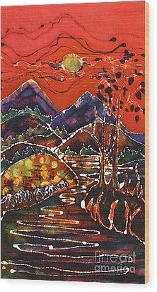 Autumn Adirondack Sunset Wood Print by Carol Law Conklin