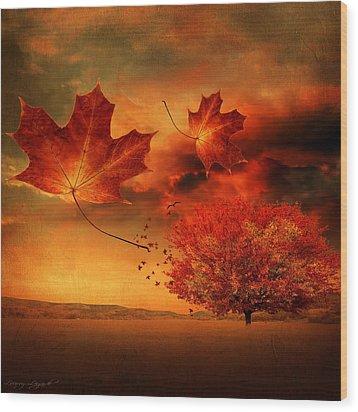 Autumn Blaze Wood Print by Lourry Legarde