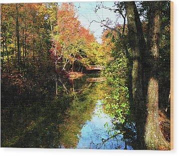 Autumn Park With Bridge Wood Print by Susan Savad