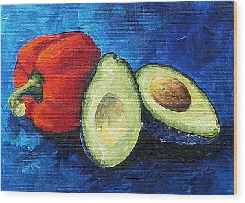 Avocado And Pepper  Wood Print by Torrie Smiley