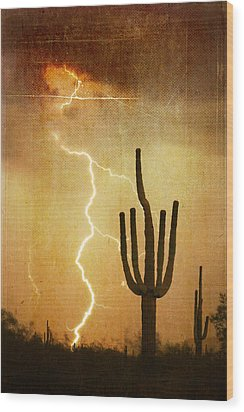 Az Saguaro Lightning Storm V Wood Print by James BO  Insogna