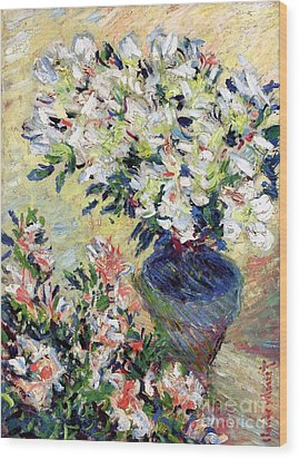 Azaleas Wood Print by Claude Monet