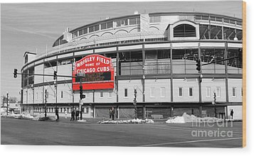 B-w Wrigley 100 Years Young Wood Print by David Bearden