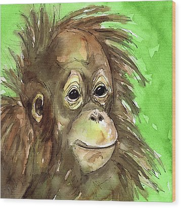 Baby Orangutan Wildlife Painting Wood Print by Cherilynn Wood