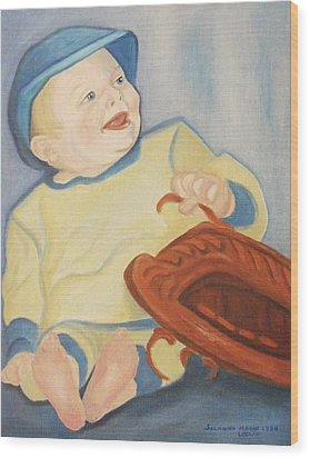 Baby With Baseball Glove Wood Print by Suzanne  Marie Leclair