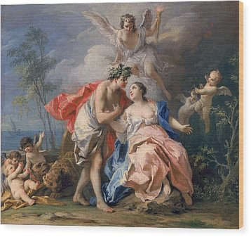 Bacchus And Ariadne Wood Print by Jacopo Amigoni