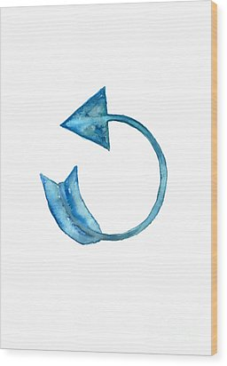 Back Arrow Watercolor Poster Wood Print by Joanna Szmerdt