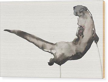 Back Awash   Otter Wood Print by Mark Adlington