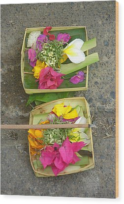 Balinese Offering Baskets Wood Print by Mark Sellers