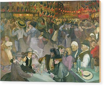 Ball On The 14th July Wood Print by Theophile Alexandre Steinlen
