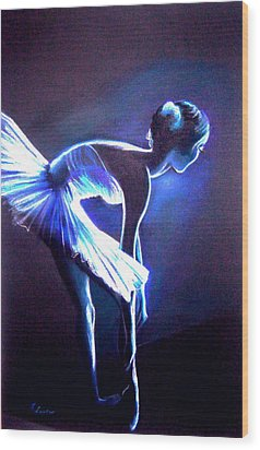 Ballet In Blue Wood Print by L Lauter