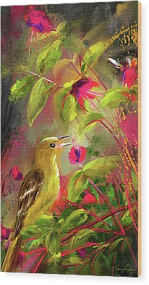 Baltimore Oriole Art- Baltimore Female Oriole Art Wood Print by Lourry Legarde
