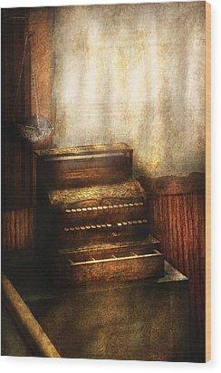 Banker - An Old Cash Register Wood Print by Mike Savad