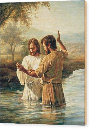 Baptism Of Christ Wood Print by Greg Olsen