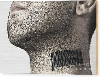 Bar Code On Neck Wood Print by Blink Images
