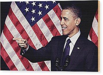 Barack Obama Wood Print by Iguanna Espinosa