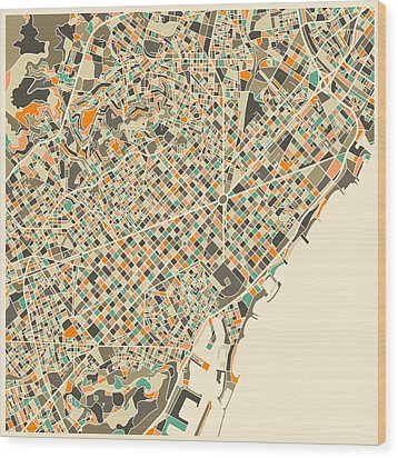 Barcelona Map Wood Print by Jazzberry Blue
