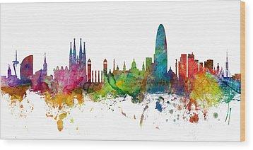 Barcelona Spain Skyline Panoramic Wood Print by Michael Tompsett