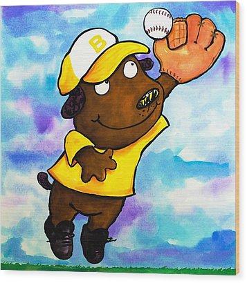 Baseball Dog 4 Wood Print by Scott Nelson