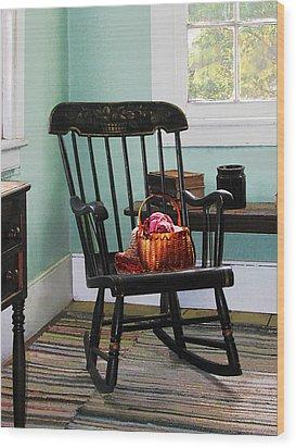 Basket Of Yarn On Rocking Chair Wood Print by Susan Savad