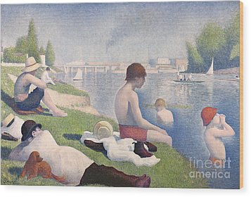 Bathers At Asnieres Wood Print by Georges Pierre Seurat