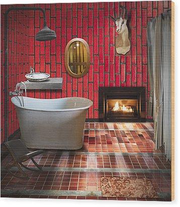Bathroom Retro Style Wood Print by Setsiri Silapasuwanchai