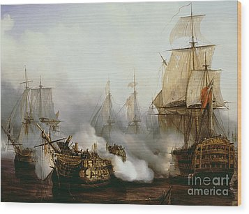 Battle Of Trafalgar Wood Print by Louis Philippe Crepin