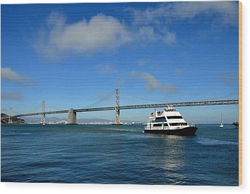 Bay Bridge Ship San Francisco Wood Print by Andrew Dinh