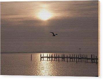 Bay Sunrise Wood Print by Bill Cannon