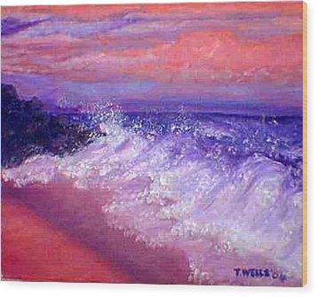 Beach At Sunrise Wood Print by Tanna Lee M Wells