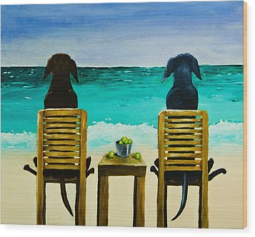 Beach Bums Wood Print by Roger Wedegis