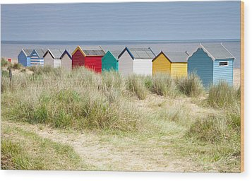 Beach Huts Wood Print by Ian Merton