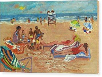 Beach In August Wood Print by Betty Pieper
